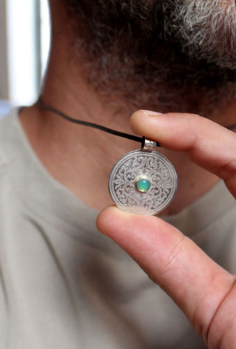 The tree from the sacred place, medieval shield pendant in sterling silver and chrysoprase