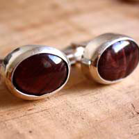 Tiger eye, sterling silver and tiger eyes cufflinks