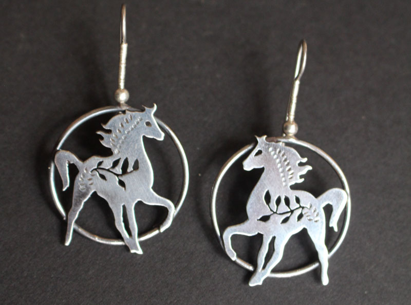 Arion, horse earrings in sterling silver