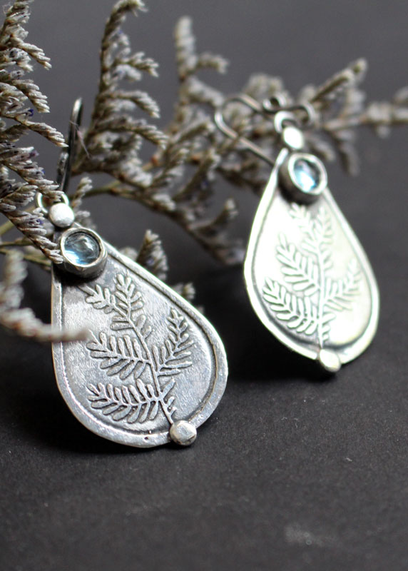 Athena's olive tree, olive branch earrings in sterling silver and blue zircon