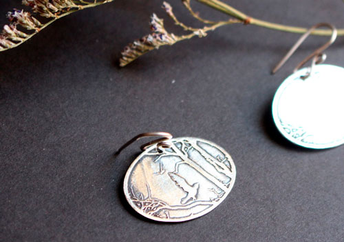 Autumn early morning, forest earrings in sterling silver