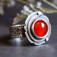 Autumn Eglantine, flower and fruit ring in sterling silver and carnelian