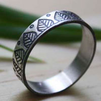 Balance, leaf etched ring in sterling silver
