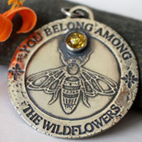 Bee, pollinator insect pendant in sterling silver and amber