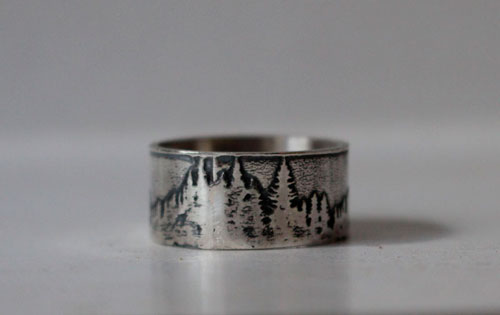 Beyond the peaks, mountain and forest ring in sterling silver