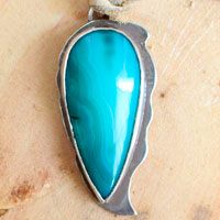 Blue pine, rustic pendant in sterling silver and blue agate