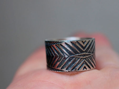 Boomerang, chevron and arrow ring in sterling silver