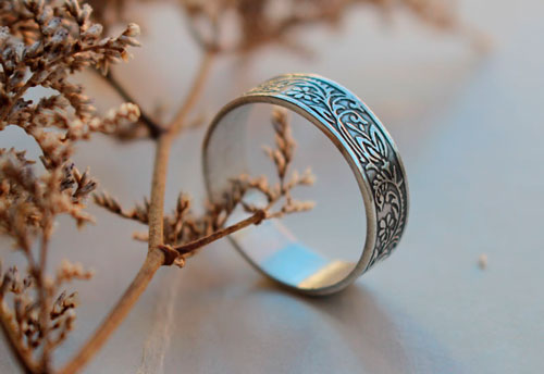 Briar Rose, romantic flower and leaves ring in sterling silver