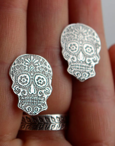 Calaca, Mexican skull post earrings in sterling silver
