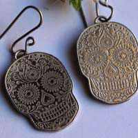 Catrina, day of the dead skull earrings in Mexican folklore in sterling silver