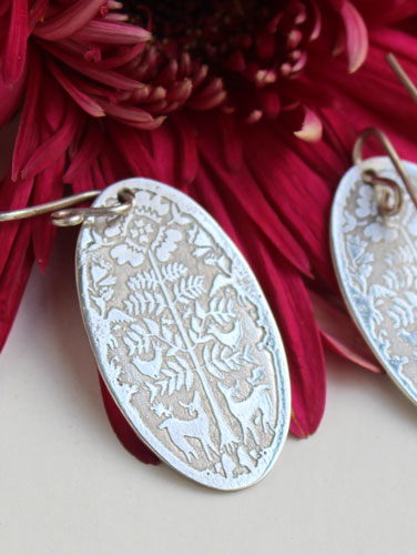 Early morning deer, Mexican Otomis earrings in sterling silver
