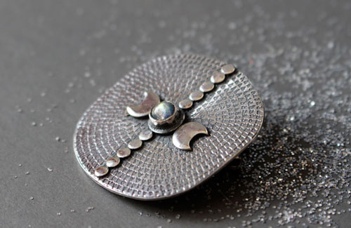 Equinox, moon and astronomy brooch in sterling silver and labradorite