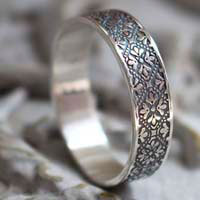 Esme, medieval flower meander ring in sterling silver