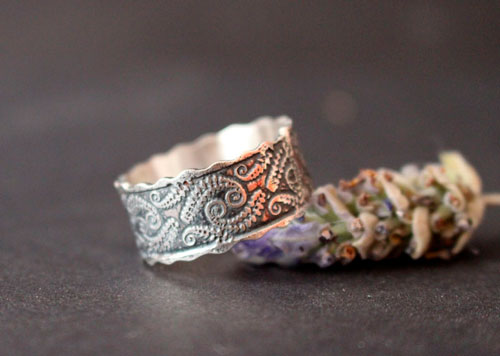 Fern, botanical ring in sterling silver
