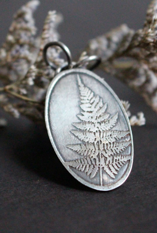 Fern leaf, nature pendant in sterling silver