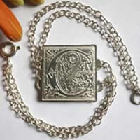 Finial, medieval illumination square bracelet in sterling silver