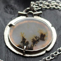 Flowers in winter, landscape necklace in sterling silver and dendritic agate