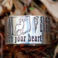 Follow your heart, deer heart of the forest ring in sterling silver