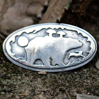 Freedom is a state of mind, bear and bunny brooch, motivational and encouragement quote in sterling silver