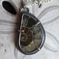 From the bottom of the ocean, fossil ammonite necklace in sterling silver