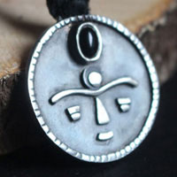 Gaia, tribal African mask necklace in sterling silver and onyx