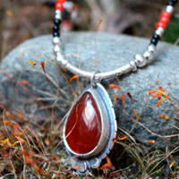 Garance, sterling silver, coral, carnelian and agate necklace