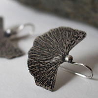 Ginkgo leaf, medical plant earrings in sterling silver
