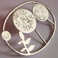 Grove, tree forest plants brooch in sterling silver