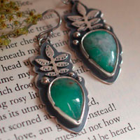 Growth, botanical earrings in sterling silver and chrysoprase