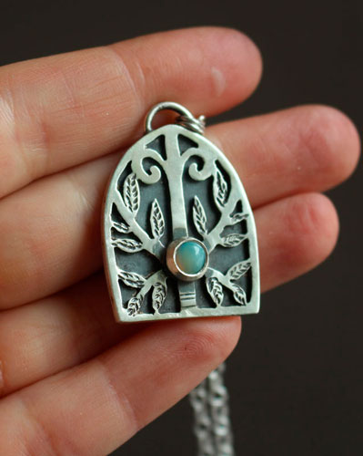 Guardian of the forest, gothic door necklace in sterling silver with opal