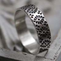 Hanabi, Japanese stylized flower ring in sterling silver