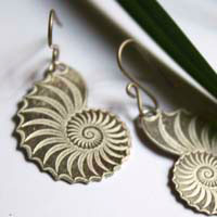 Helix, nautilus snail earrings in sterling silver