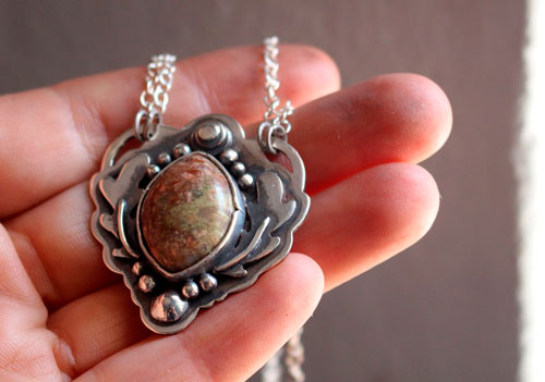In the hollow of the oak tree, oak leaf necklace in sterling silver and autumn jasper