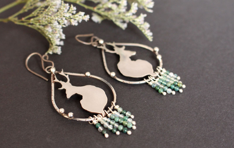 In the quietness of dawn, deer earrings in sterling silver and moss agate beads