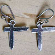 Indochine, cross rock earrings in sterling silver
