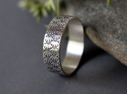 Ineko, Japanese flower ring in sterling silver