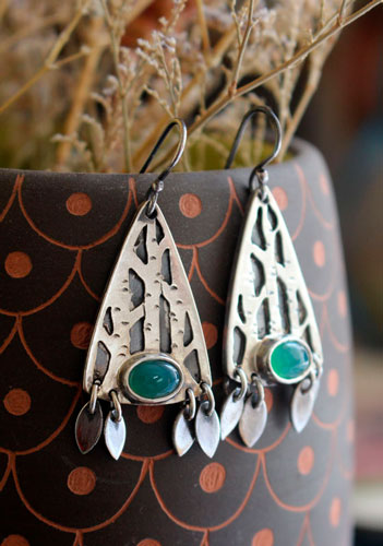 Inner forest, tree forest earrings in sterling silver and aventurine