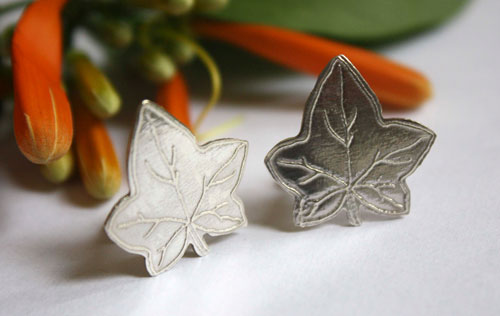 Ivy leaf, leaf cufflinks in sterling silver