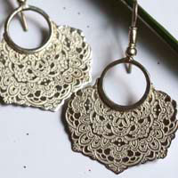 Jessamine, oriental flower earrings in sterling silver