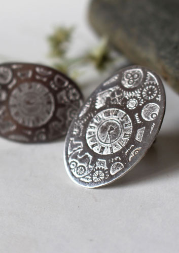 Jules, steampunk gear cufflinks in sterling silver
