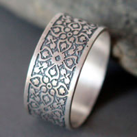 Keystone, medieval ring in sterling silver
