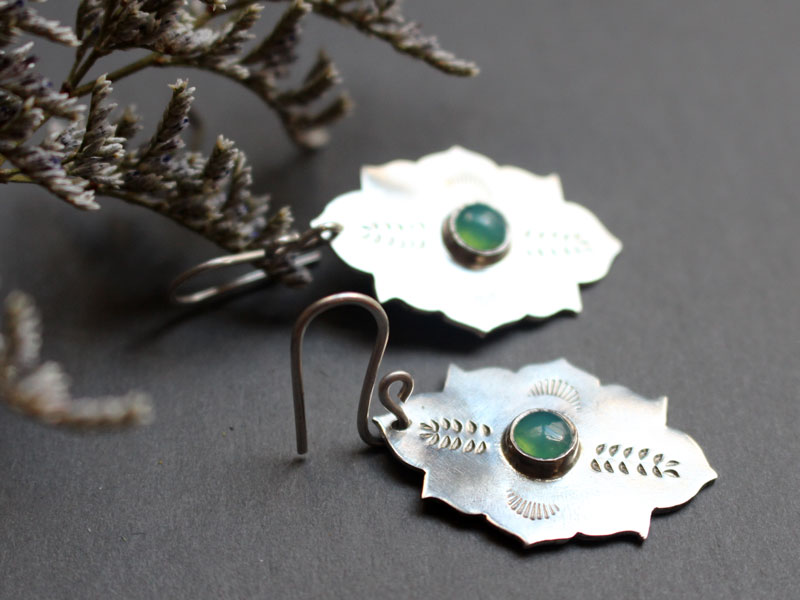 Kirakee, oriental Moorish architecture earrings in sterling silver and chrysoprase