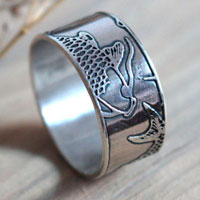 Koi, fish ring, Japanese pond in sterling silver