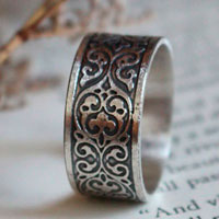 Leaf arabesques, scroll baroque ring in sterling silver