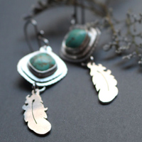 Learning to fly, feather earrings in sterling silver and turquoise
