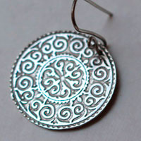 Leoda, medieval shield earrings in sterling silver