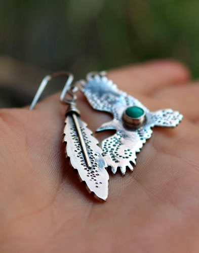 Liberty, eagle and feather earrings in sterling silver and turquoise