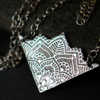 Life flower, lotus mandala necklace in sterling silver