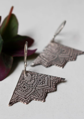 Life flowers, triangle lotus mandala earrings in sterling silver