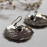 Lily pad leaf, botanical earrings in sterling silver and chalcedony